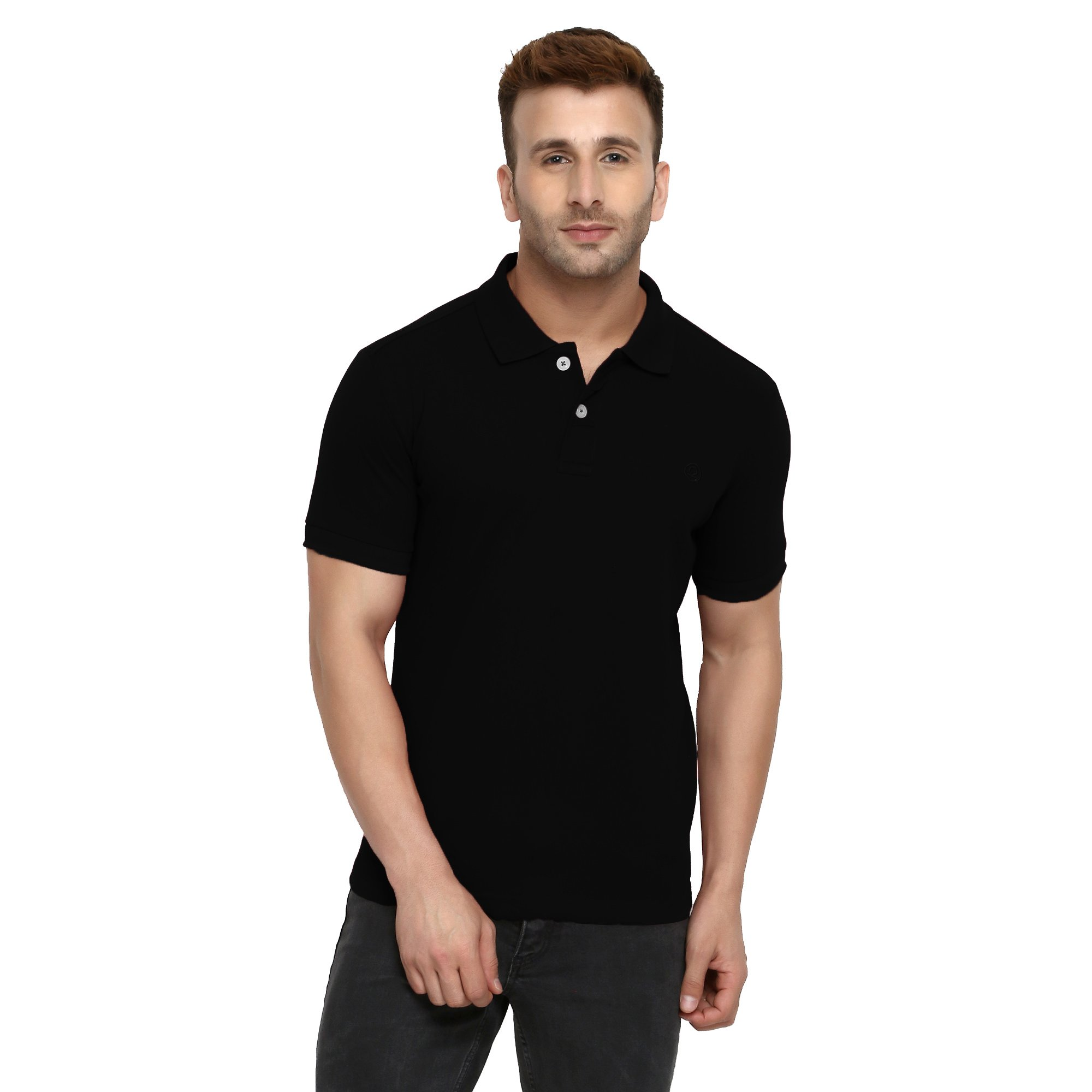 ac3482f516 CHKOKKO Two Button Half Sleeves Polo Neck Cotton T Shirts for Mens product  image