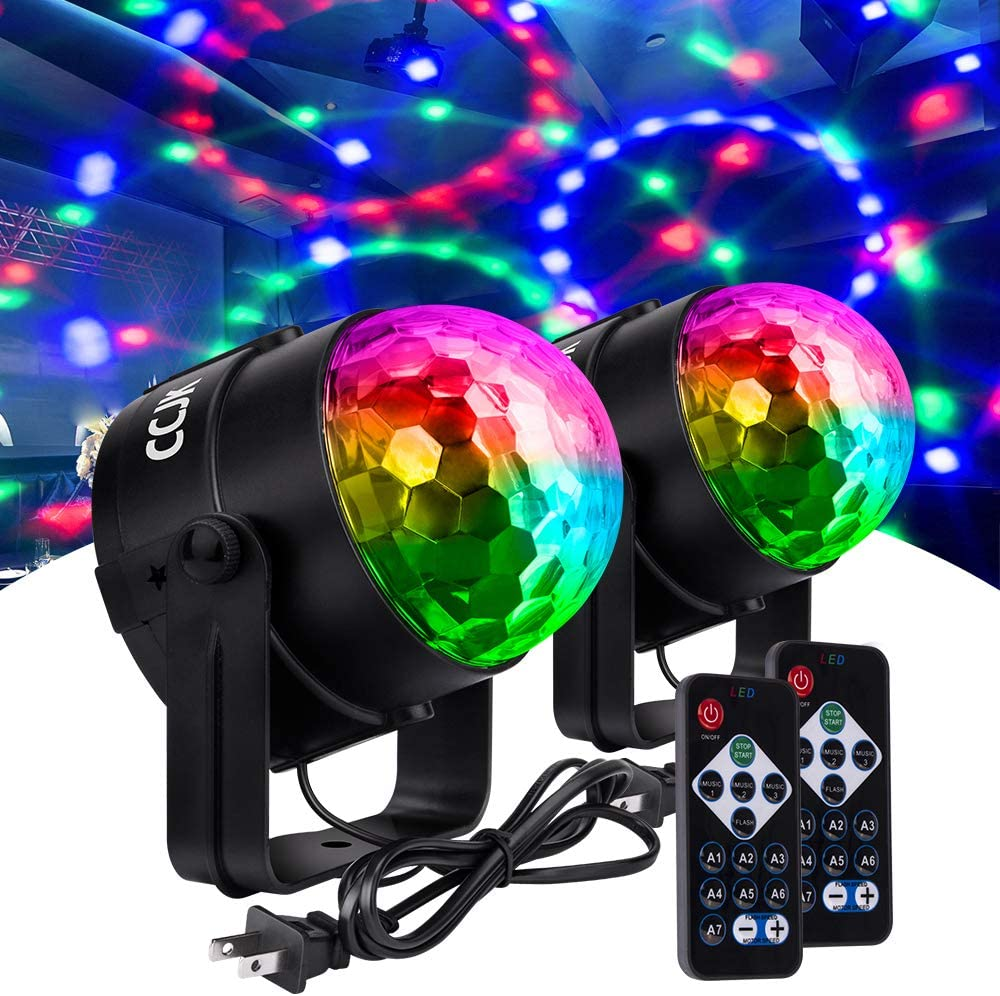 Disco Party Ball Lights, Sound Activated Party Lights with Remote Control 7 Colors RGB Dance Lamp Disco Dj Stage Strobe Light for Home Parties Birthday Bar Karaoke Wedding Show Club(2 Pack)