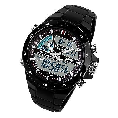 50m résistant à l'eau montre de tour de taille pour homme analogique + Affichage digital Luminious indication Chronomètre