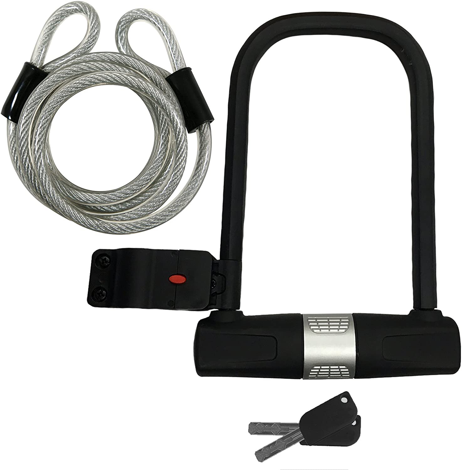 U-Lock Bike Lock Heavy Duty High Security with 6-ft. Security Cable and Mounting Bracket