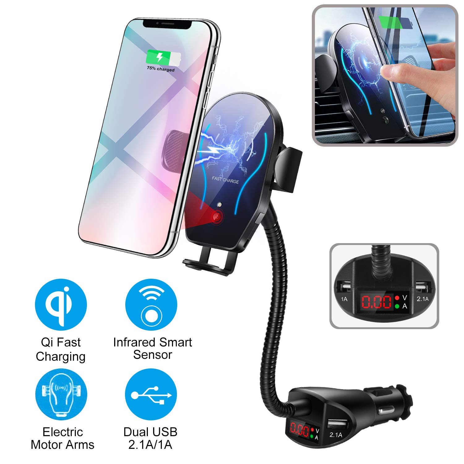Flow.month Car Cigarette Lighter Wireless Charger- Phone Holder Mount,Automatic Infrared Smart Sensing 10W Qi Fast Wireless Charging Cradle for Cell Phone,Dual USB, 3.1A Max by Flow.month