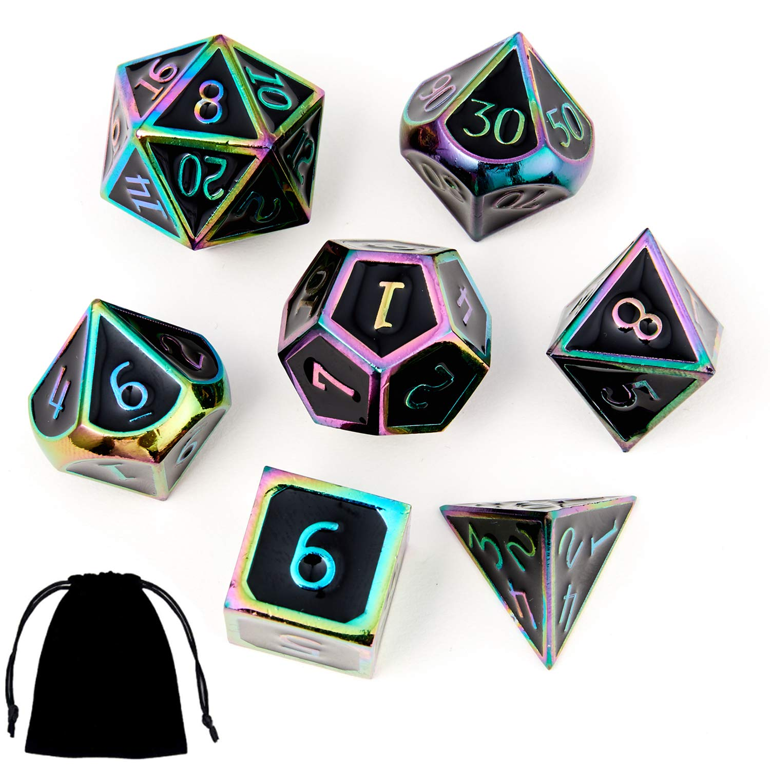 Dungeons and Dragons Metal Dice Set DND 7Pieces Solid Dice with Gift Dice Bag for D&D Pathfinder Roll Playing Games Dice Collector Board Game Player by MS hong