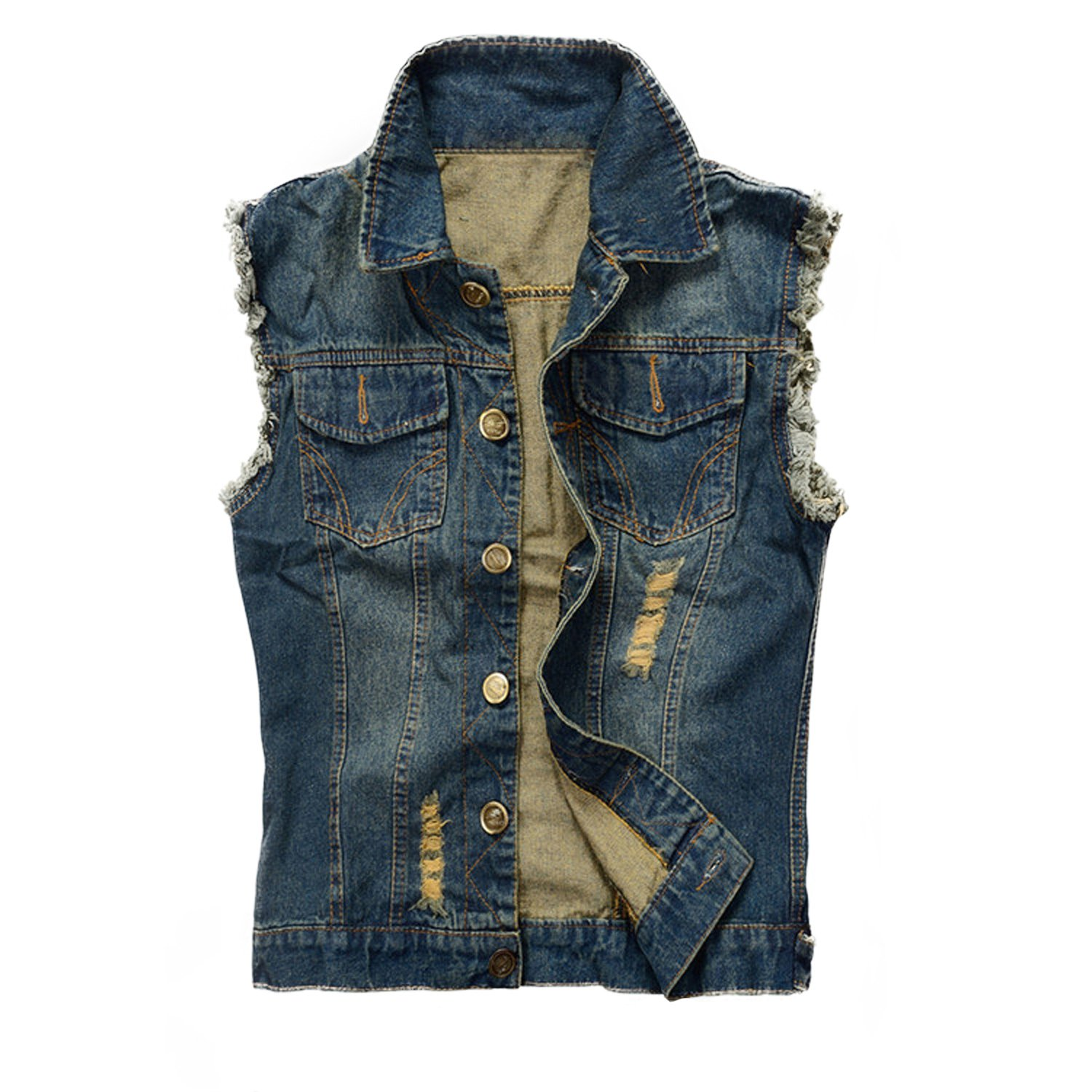 NASKY Men&Women's Fit Retro Ripped Denim Vest Sleeveless Lapel Jean Vest Jacket Waistcoat Top Plus Size XXX-Large