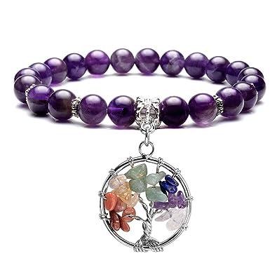 JSDDE 7 Chakra Healing Stone Beads Stretch Bracelet with Tree of Life Charm Gemstone Meditation Balancing, Amethyst