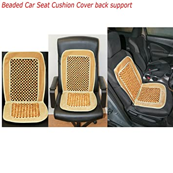 Universal Beaded Car Seat Cushion Comfortable Back Massage Wooden Bead Cover Van Cream