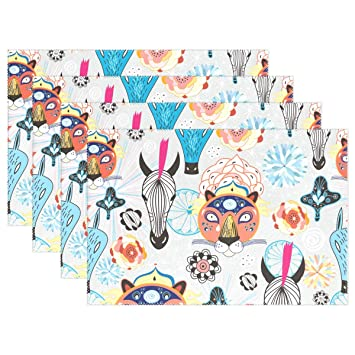 Amazing Amazon Com Senwei Funny Animals Cartoon Abstract Placemat Home Remodeling Inspirations Basidirectenergyitoicom