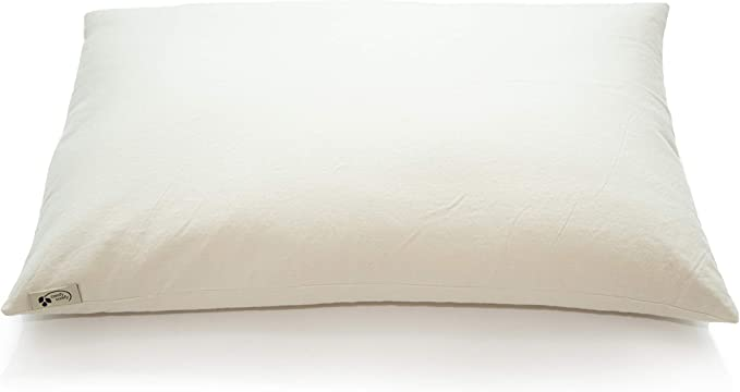 """Amazon.com: ComfyComfy Premium Buckwheat Pillow, Standard Size (20"""" x 26""""), Comes with Extra 2 lb of USA Grown Buckwheat Hulls to Customize for Comfort, Made from Durable Organic Cotton Twill: Kitchen & Dining"""