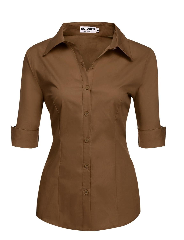 Hotouch Womens Basic Long Sleeve Cotton Simple Button Down Shirt AMH005268