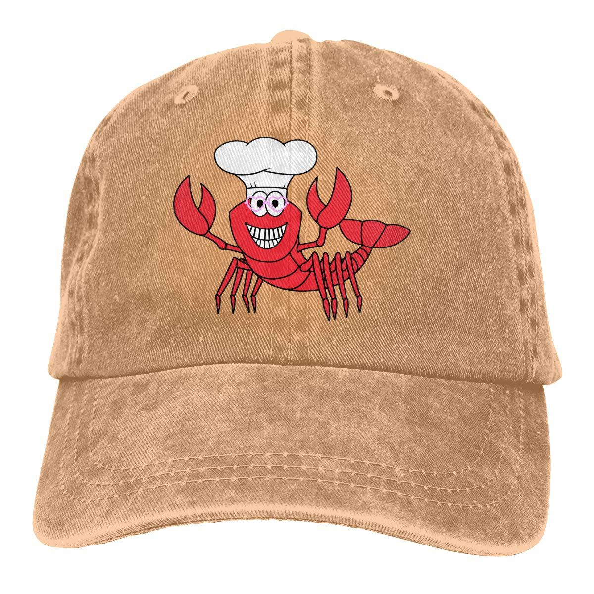 Unisex Chef Lobster Happy Smile Vintage Washed Dad Hat Funny Adjustable Baseball Cap