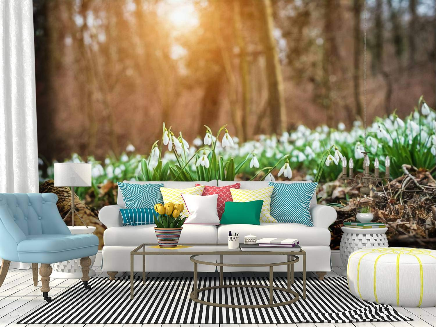 SKIWAMural Self Adhesive Wallpaper Roll Paper Snowdrops Removable Peel and Stick Wallpaper Decorative Wall Mural Posters Home Covering Interior Film