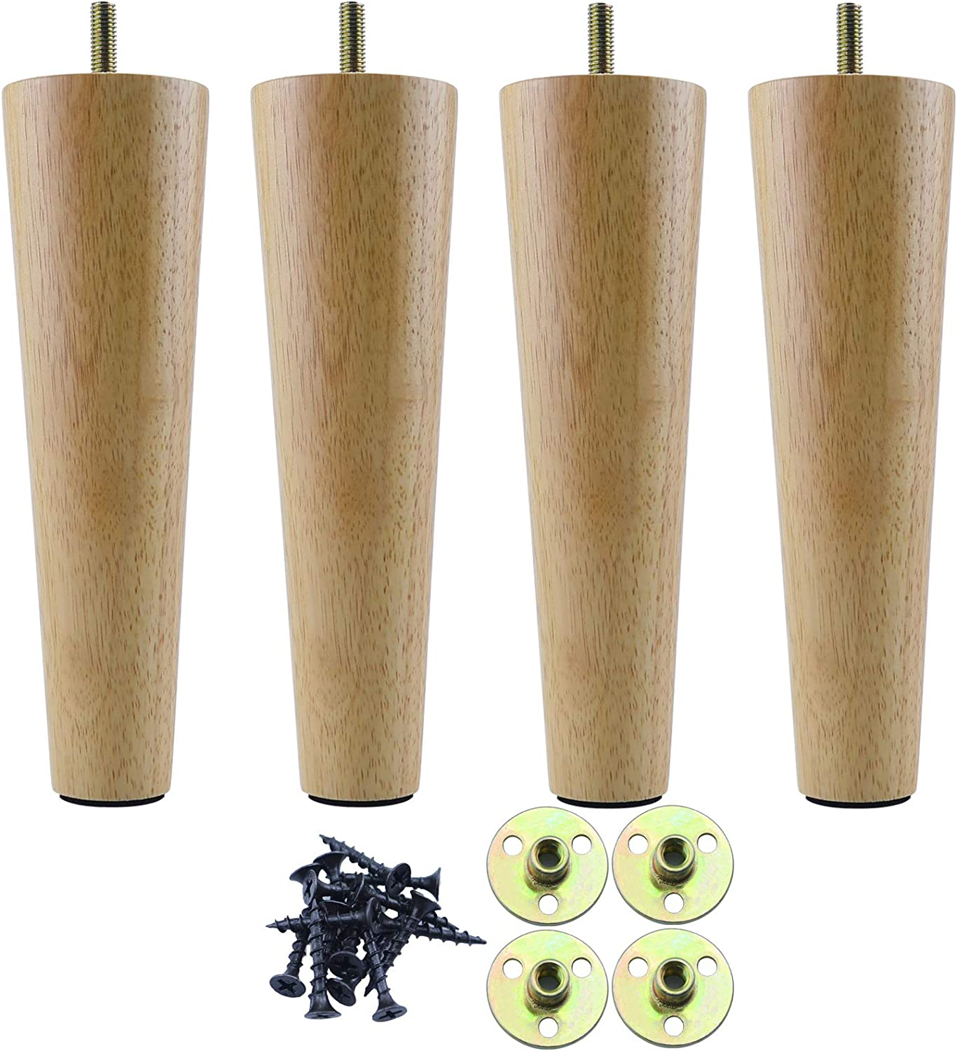 8 Inch 100% Solid Wood Furniture Legs Sofa Legs Set of 4, Natural White Furniture Feet Set of 4, Replacement Couch Legs for Chair, Cabinet, Mid Century Modern Dresser Or Home DIY Projects Bun Feet