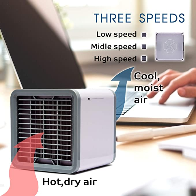 5 Sprays AuLink Portable Mini Air Conditioner Fan 7 Colors LED Light 5 in 1 USB Desk Fan Evaporative Air Cooler Humidifier with Timer 3 Wind Speeds for Room Travel Office Aroma Diffuser