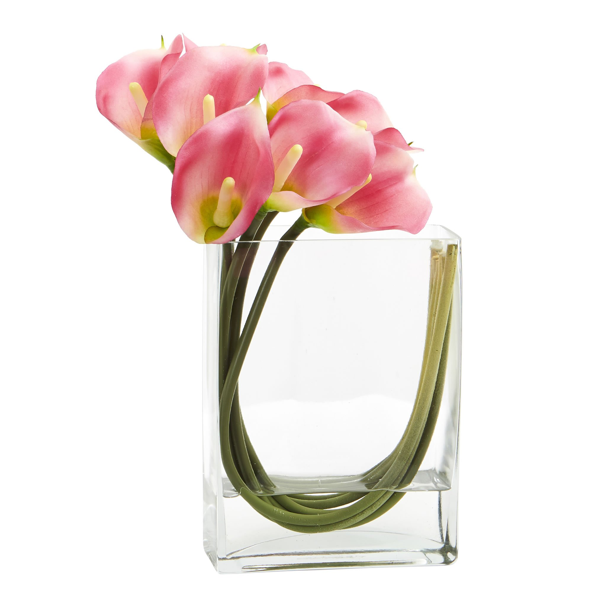 Nearly Natural Calla Lily in Rectangular Glass Vase, 12'', Pink by Nearly Natural