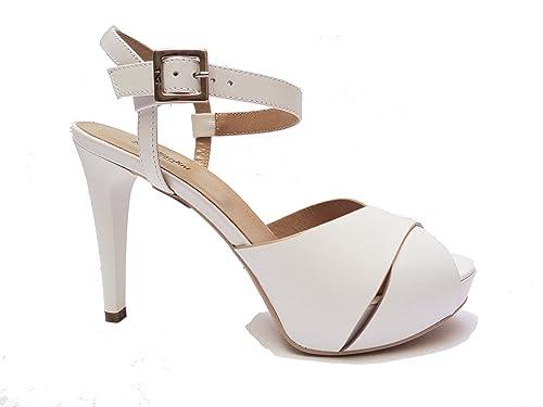 Nero Giardini 17900 sandali da donna in pelle Bianco tacco cm. 11 plateau cm. 3