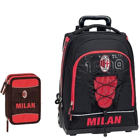 Schoolpack Mochila Trolley AC Milan + Estuche 3 Cremalleras ...