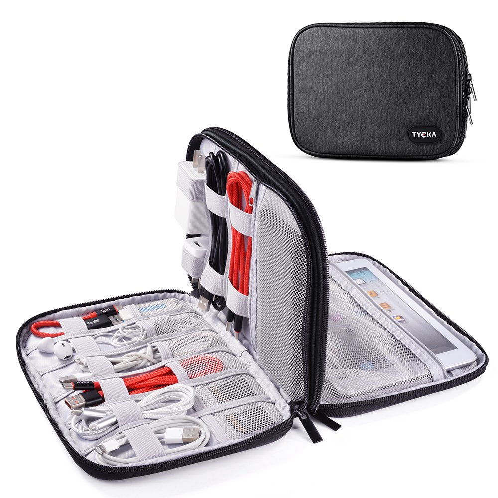TYCKA Portable Electronics Travel Organizer Storage Bag for Accessories, Cable, Cord, iPad mini, Kindle, USB, SD Cards, Chargers, Deep Gray