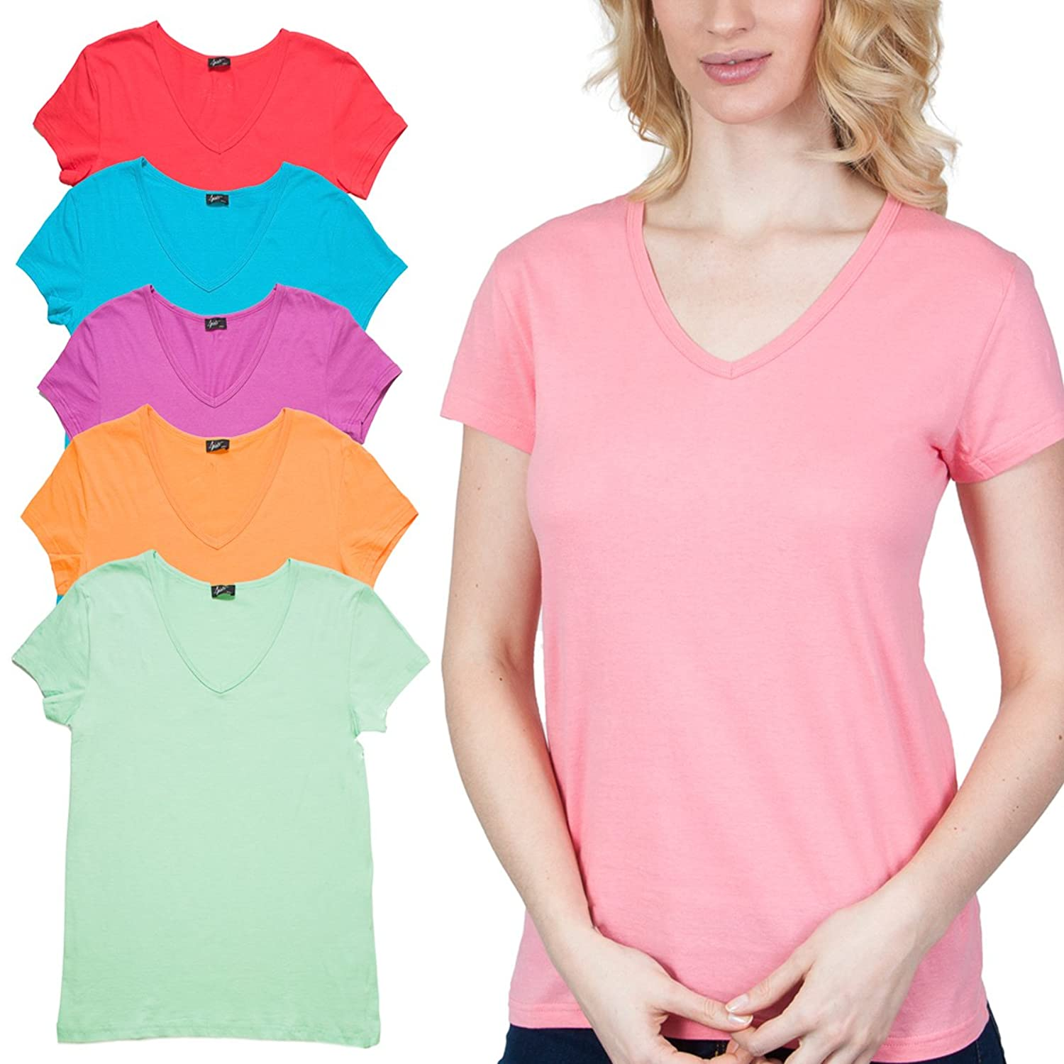 6 Pack Women's V-Neck Short Sleeve T-Shirts Cotton Pastel Assorted Colors Basic Tee