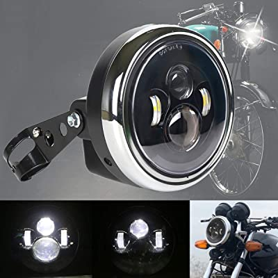 7inch Motorcycle Headlight Mount, DDUOO Black Motorcycle LED Headlight Bucket with 7inch LED Headlight for Honda CB400 CB1300 Kawasaki Cafe Racer Yamaha: Automotive