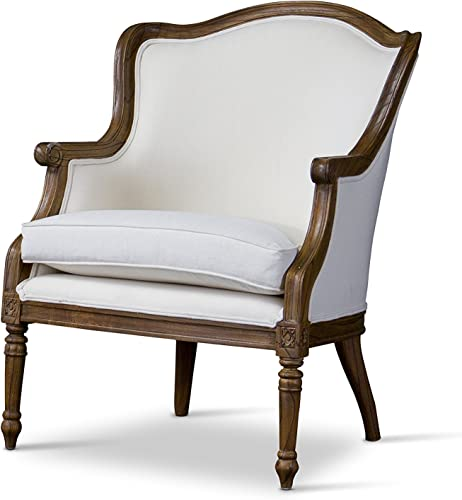 Baxton Studio Charlemagne Traditional French Accent Chair, White
