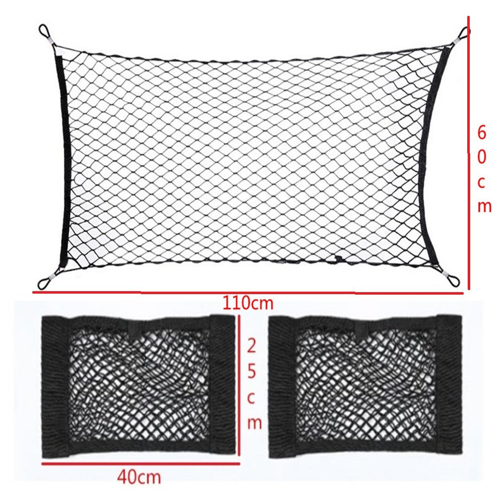Ruesious Car Storage Net Car Universal Black Nylon Luggage Net Holder (A)