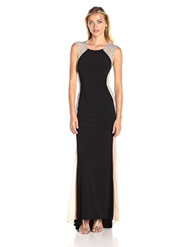 Xscape Women's Long Ity Dress with Caviar Bead Sides