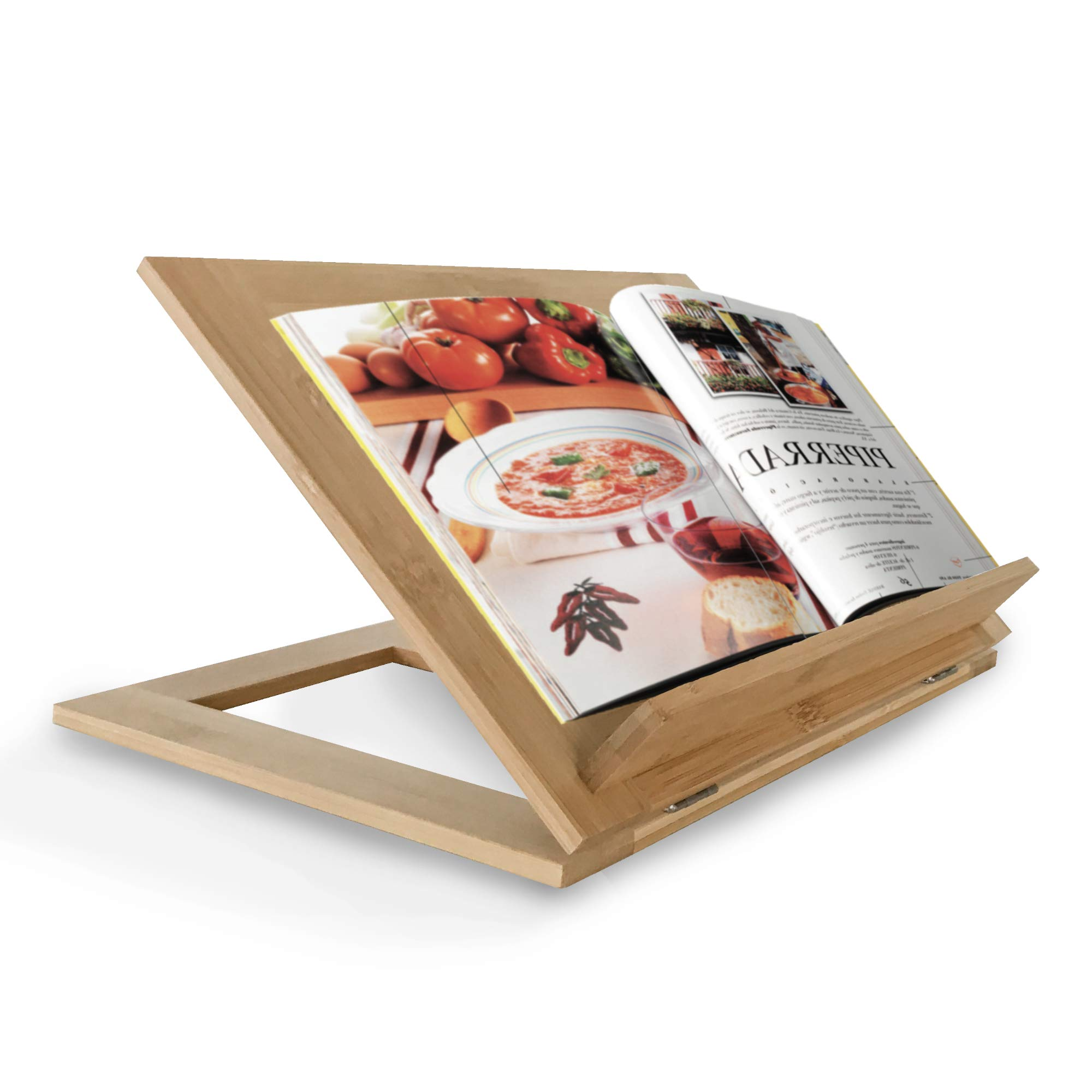 Natural Bamboo Book Stand | Wooden Holders for Big or Small Books | Wood Stands for Recipe Books Perfect for Kitchen Decor | Portable and Foldable Features by Home & Decor BK