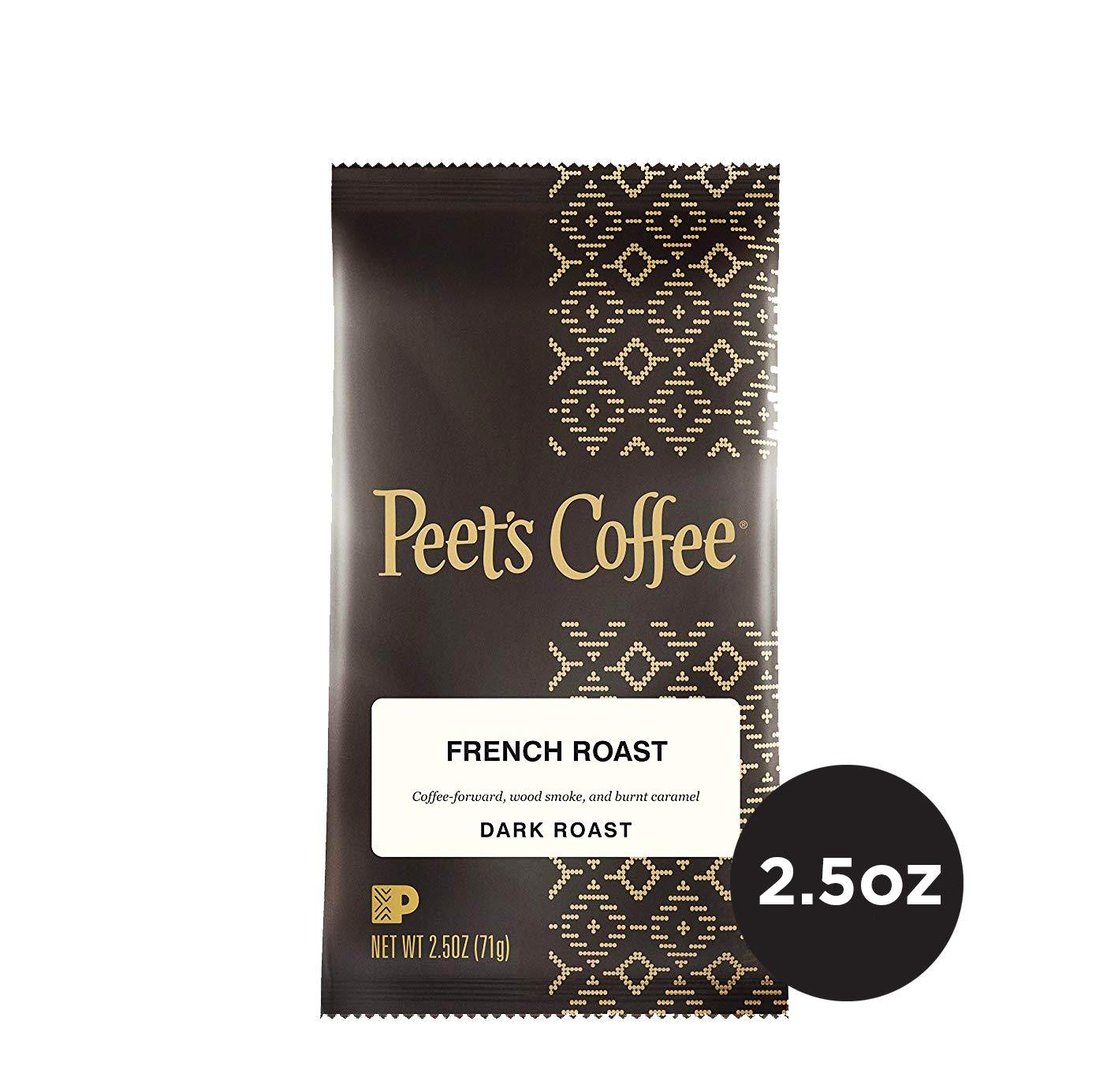 Peet's Coffee French Roast Dark Roast Ground Coffee, 2.5 Ounce Portion Packs (Pack of 18)