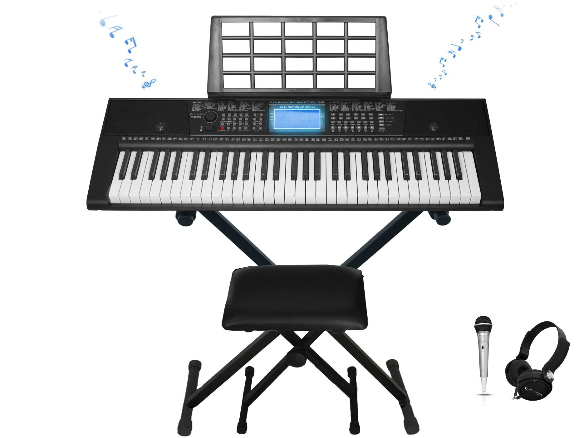 Technical Pro 61-Key Electronic Light Up Keyboard Keyboard Piano Bundle with Stand, Stool, Headphones, Microphone & Power Supply by Technical Pro (Image #2)