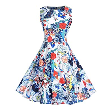 Clearance Sale! Hurrybuy Women Halloween Sleeveless Evening Printing Party Prom Swing Dress