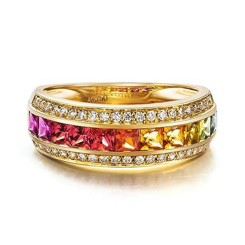 Amazon.com: daesar anillos de oro 18 K para mujer 1.339 ct ...