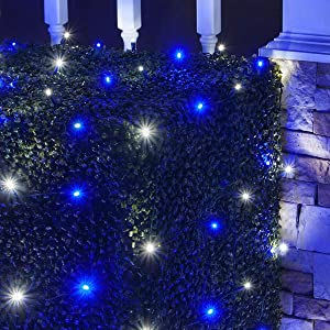 LED Blue and White Net Lights Outdoor LED Holiday Lights Net, Outdoor Decorative Lights Christmas Net Lights, Hedge Christmas Lights, Set of 100 (4 x 6 ft, 5mm Lights, Blue/Cool White)