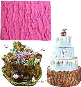 WYD Tree Bark Texture Mats Fondant Mermaid Silicone Mold,Handmade Soap Mold,Cake Mold Decorating,Fondant Baking Mold