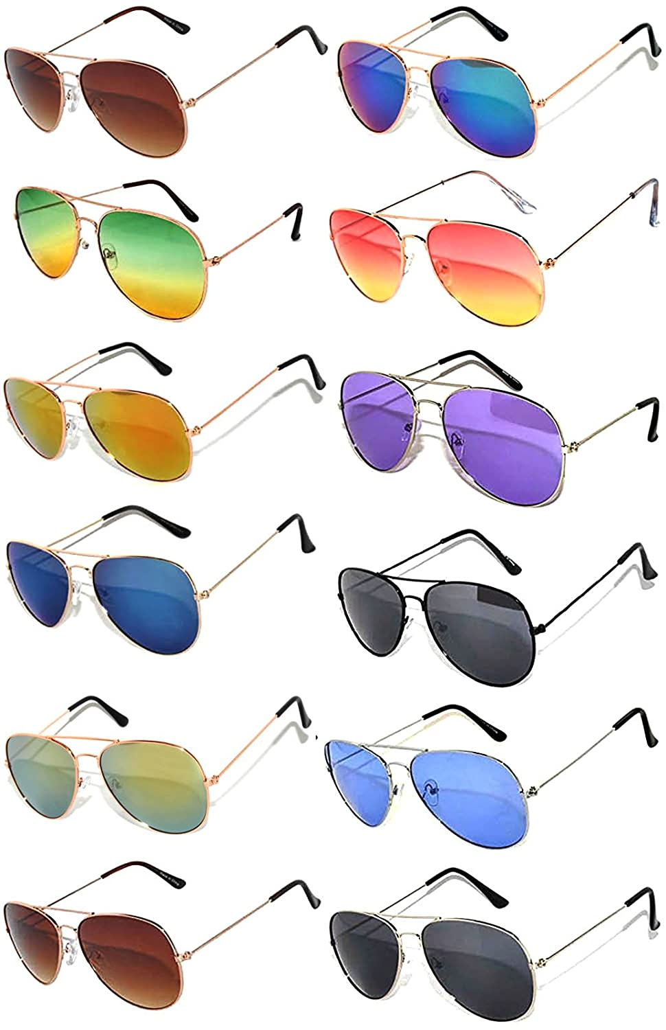 9a46f852bf241 Top1  12 Pairs Classic Aviator Sunglasses Metal Gold Silver Black Colored  Mirror Lens OWL