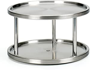 """RSVP International Two-Tier Turntable Lazy Susan   Handy in Cabinet, Refrigerators & Counters   Organize Spices, Canned Foods, Pots, Pans, Dinnerware, 10.5"""" x 6"""", Stainless Steel"""