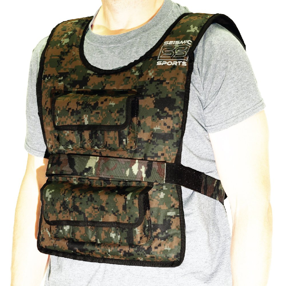 Seismic Sports - SS50VBK - Adjustable Weighted Vest 50 lb Camouflage for Crossfit, HIIT, Strength,  Cross Training and Cardio Exercise by Seismic Sports
