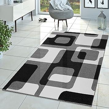 Wunderbar Tu0026T Design Wohnzimmer Teppich Modern Grau Schwarz Weiß Retro Muster  Kurzflor, Größe:120x170 Cm