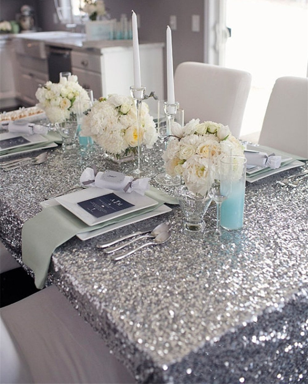 B-COOL 90x156 Shimmer Sparkly Wholesale Sequin Tablecloth for Wedding
