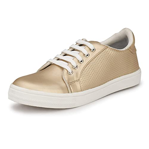 Women Gold Sneakers Casual Shoes