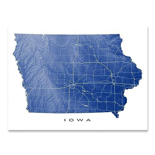 Amazon Com Iowa Map Print Ia State Art Usa Handmade