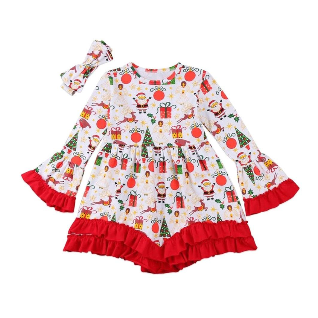 2Pcs Christmas Kids Baby Girls Cartoon Deer Print Outfit Top Dress Headbands Set