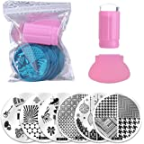 Biutee Salon Designs Nail Art Stamping Kit Bundle with 10 Manicure Plate Set, Polish Stamper and Scraper (10Pcs)