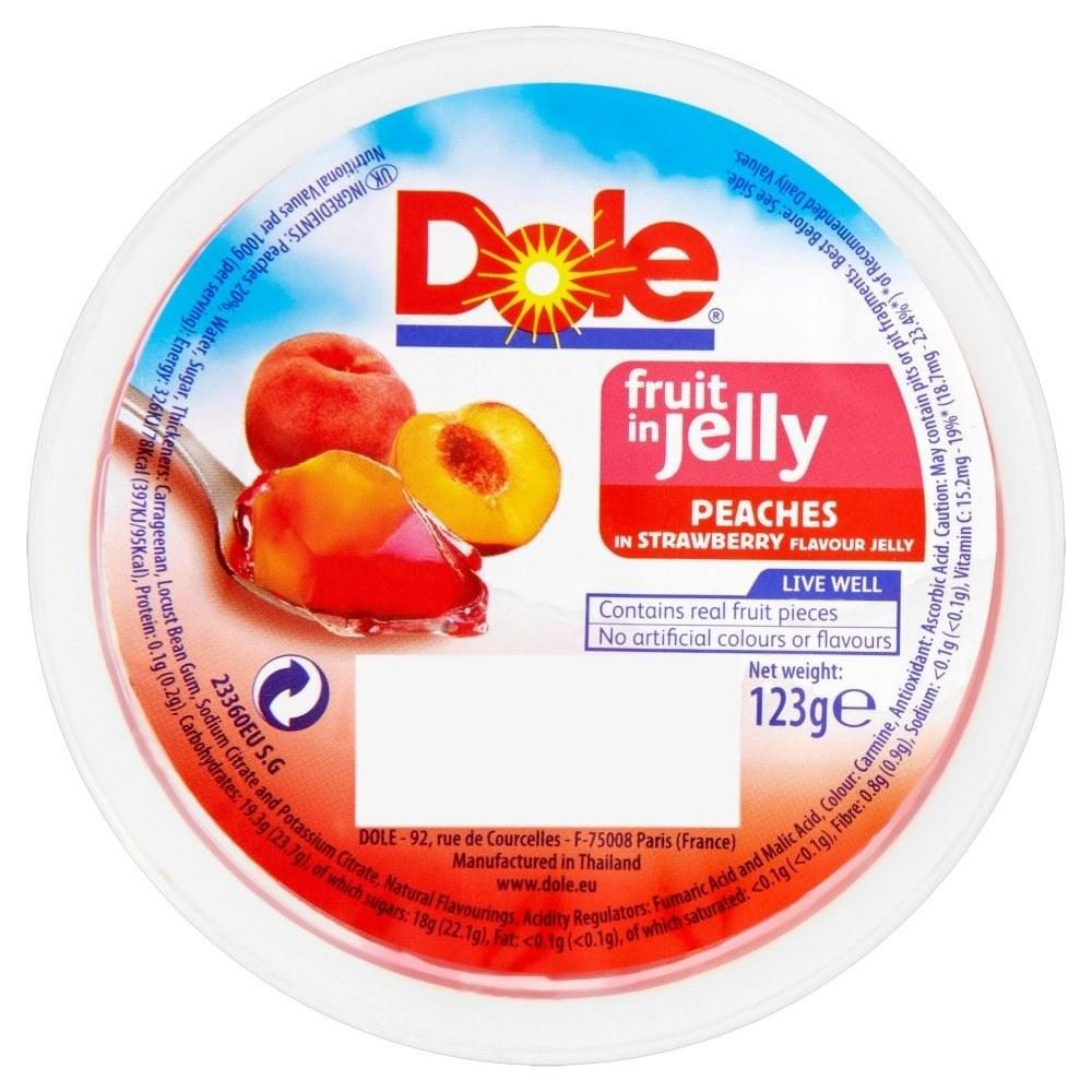 Dole Fruit in Jelly - Peaches in Strawberry Jelly (123g) - Pack of 6
