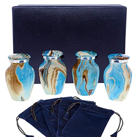Ocean Tides Beautiful Small Keepsake Urn for Human Ashes – Set of 4 Urns – Find Comfort with These Keepsake Sharing Urns Beautiful Deep Blue and Brown Earth Tones – With Satin Lined Case and 4 Pouches
