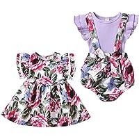 puseky Kız Bebek Kız Kardeşler Uyumlu Giysiler Çiçekli Elbise ve Büzgülü Askılı Tulum Büyük Küçük Kız Kardeş için