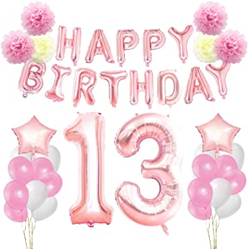 KUNGYO 13th Birthday Decorations Kit Rose Gold Happy Banner Giant Number 13 And