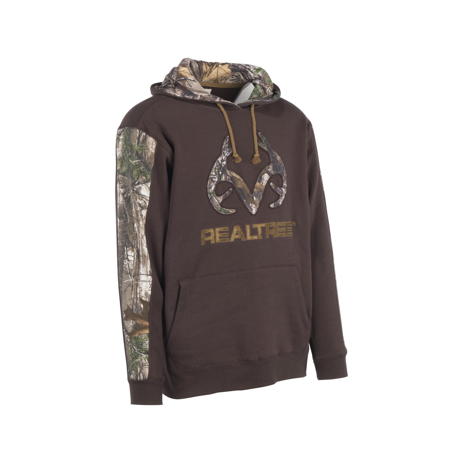 9160335486ea1 Realtree Xtra accents on sleeves and inside hood. Kangaroo handwarmer  pocket. Ribbed knit cuffs and waist. Attached drawstring hood