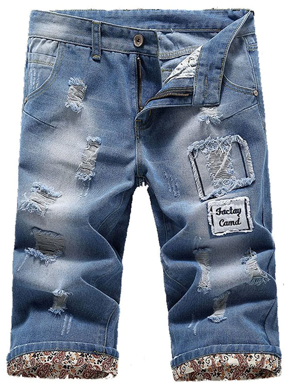 Allonly Men's Fashion Casual Destroyed Ripped Slim Fit Denim Shorts Jean Short With Broken Holes And Patches