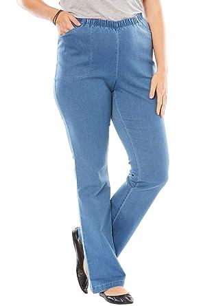 1b7e8628898 Women s Woman Within Plus Size Tall Bootcut Fineline Jean - Light  Stonewash