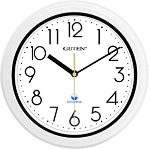 Guten 11 Inch Sealed Indoor Outdoor Waterproof Wall Clock, Dustproof Silent Non Ticking, Battery Operated Quality Quartz White Clock for Bathroom, Kitchen, Patio, Pool, Outdoors