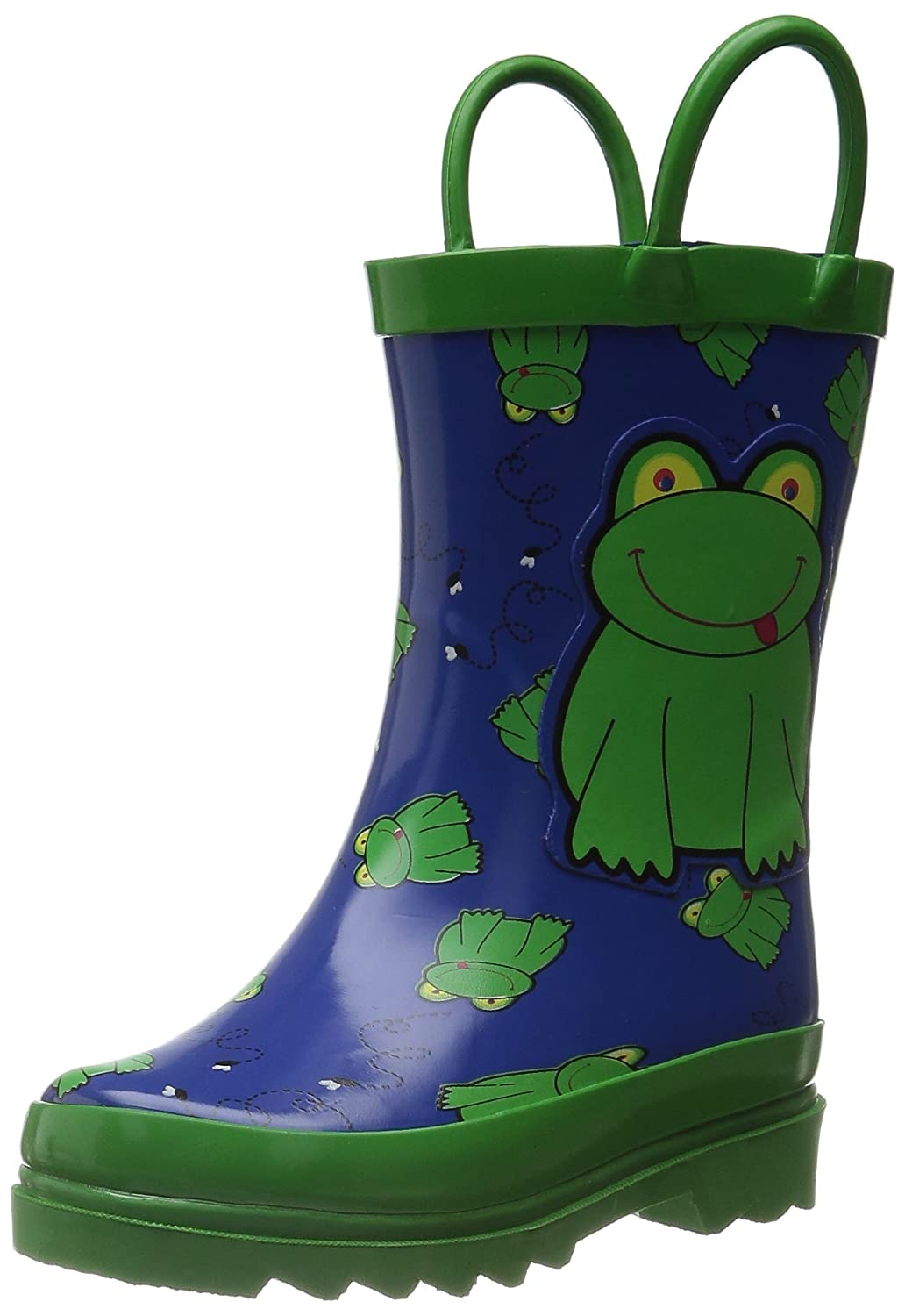 AccessoWear Puddle Play Kids Boys' Green Frog Character Printed Waterproof Easy-On Rubber Rain Boots (Toddler/Little Kids)